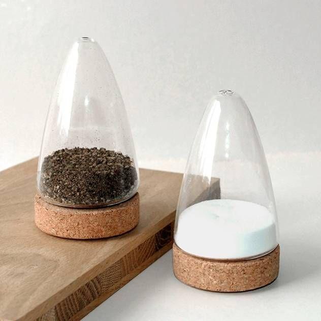 PUIK ART Salz- und Pfefferstreuer aus Glas und Kork BOEIEN : Haushalt von Ladentisch Inh. J. Langguth