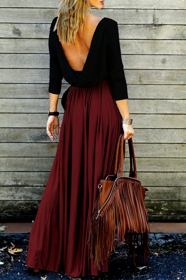 $20.99 Alluring Long Sleeve Maxi Draped Open Back Dress