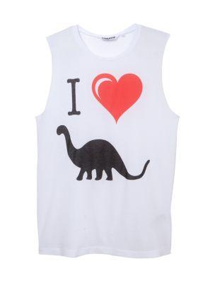 Teens White I Heart Dinosaurs Tank Top