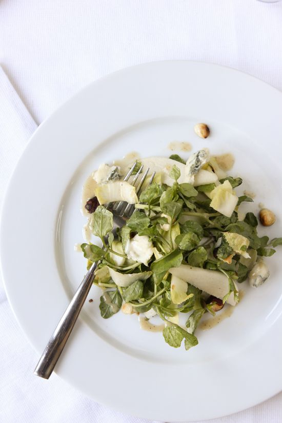 Pear, Endive and Watercress Salad with Toasted Hazelnuts and Gorgonzola Cheese in a Hazelnut Dressing