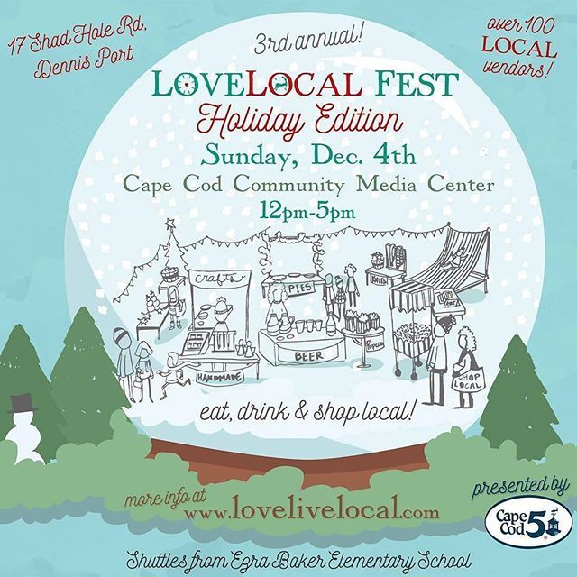 @lovelivelocal 🎉super excited about #LoveLocalFest :: Holiday Edition tomorrow at Cape Cod Community Media Center! Last year was SO popular we outgrew the space at @capecodbeer but they will be there along with @trurovineyardsofcapecod ... AND we'll be broadcasting the #Patriots game in the studio, so you won't miss a thing!  The Media Center is centrally located minutes from Exit 9A via Route 6. For stress-free shopping, we strongly encourage you park less than a quarter-mile away at the…