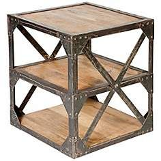 Village Industrial Distressed Wood 3-Shelf Side Table $517.00