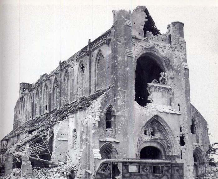 The Chapel, Abbaye d'Ardenne after the battle. From the evening of June 6th…