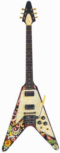 Une Flying V finition hyper psychédélique hommage à Jimi Hendrix. Retrouvez des cours de guitare d'un nouveau genre sur MyMusicTeacher.fr