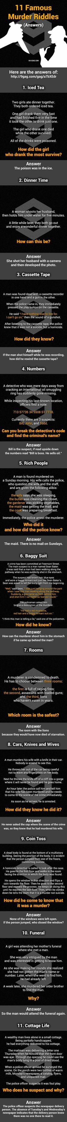 Answers: 11 Murder Mystery Riddles. Can You Solve Them All?
