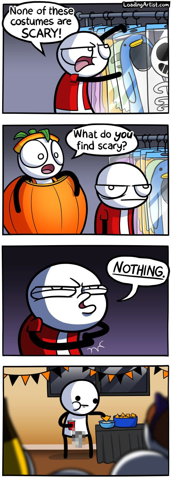 A comic about scary Halloween costumes. Tap to view the full thing!