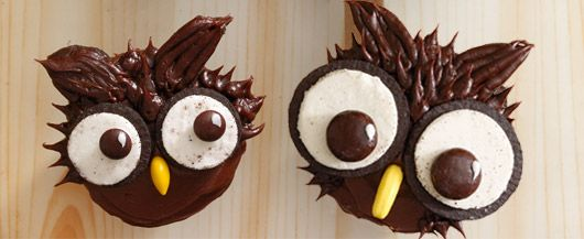 Owl cupcakes: Cute Cupcakes, Birthday Parties, First Birthday, Cupcakes Recipes, Owl Cupcakes, Hello Cupcakes, Halloween Treats, Cupcakes Rosa-Choqu, Oreo Cupcakes