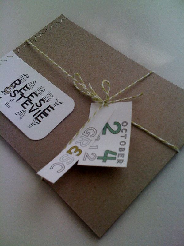 Sewn  Wedding Invitations Booklet with rsvp twine and by 2beUdesign