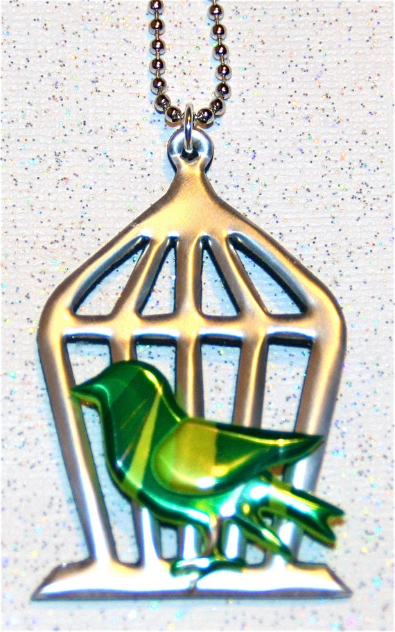 Recycled Soda Can ArtMiniature Bird  and Cage Necklace by apmemory