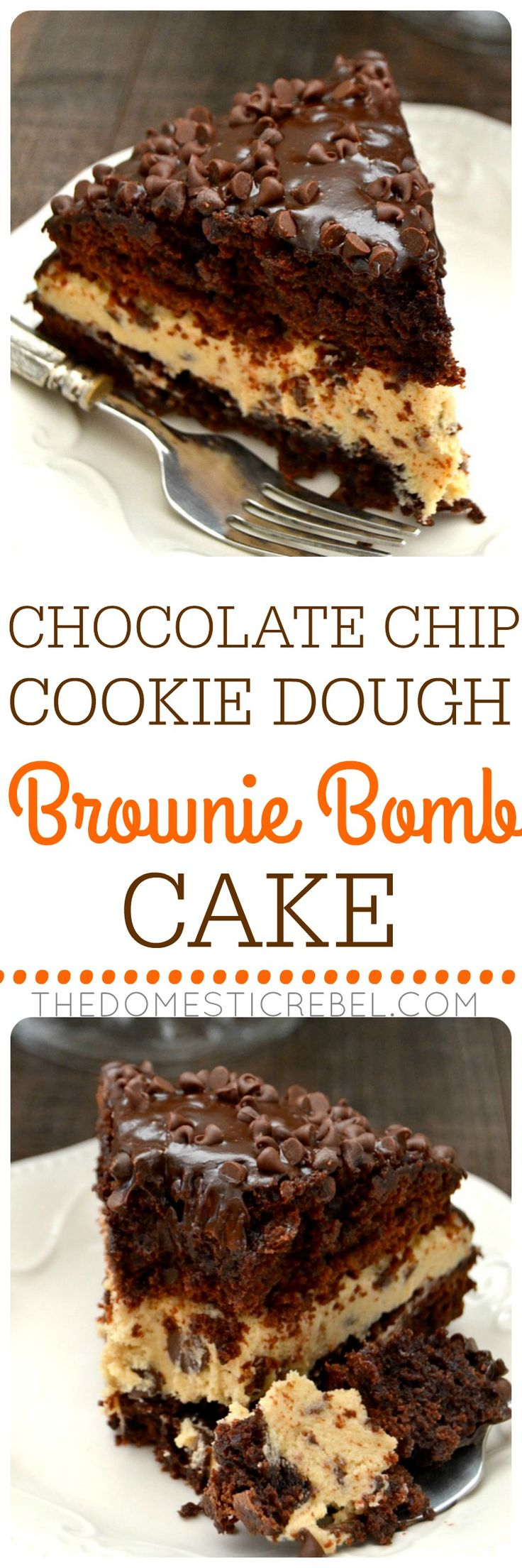 This Chocolate Chip Cookie Dough Brownie Bomb Cake is a fun twist on my signature dessert! Two fudgy brownie cake layers are sandwiched around egg-free chocolate chip cookie dough and topped with chocolate ganache! So easy and impressive!