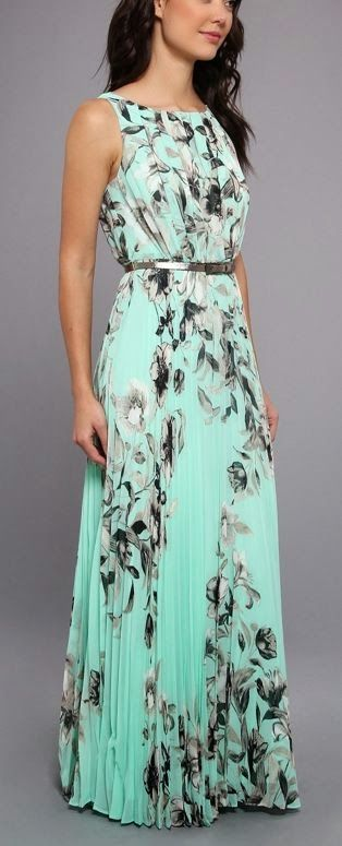 Sleeveless Maxi With Pleated Bodice And Skirt. *I think this dress would lol really good in a peachy coral color.