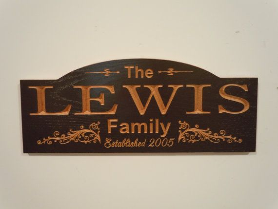 Personalized Family Last Name Carved Wooden Sign by TKWoodcrafts