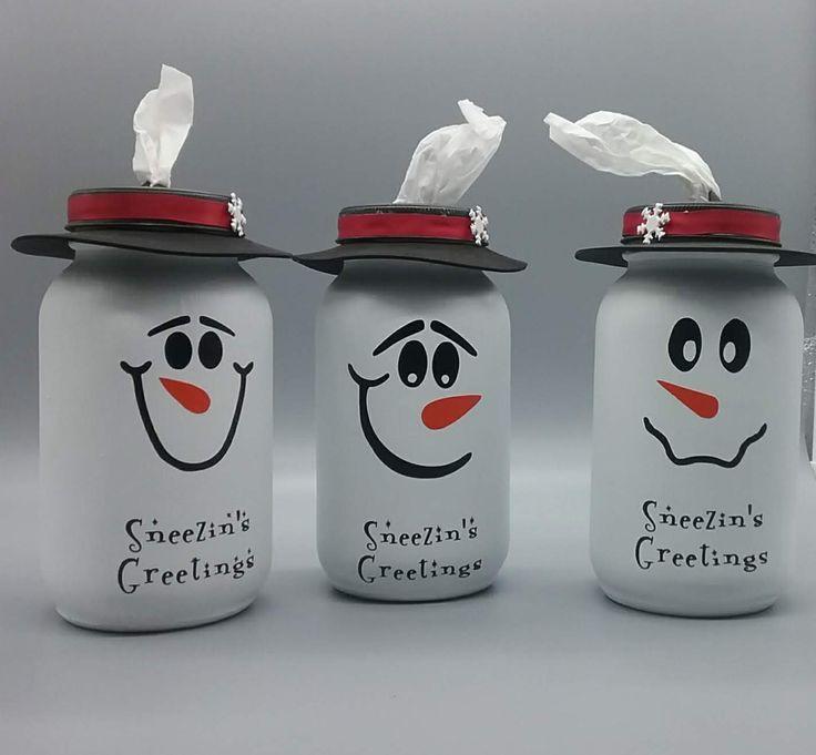 Snowman Mason Jar Tissue Dispenser Mason Jar Crafts Diy Christmas Mason Jars Jar Crafts