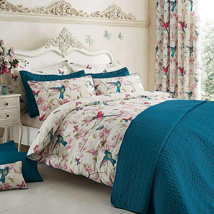 Tropical Birds Teal Duvet Cover and Pillowcase Set | Dunelm