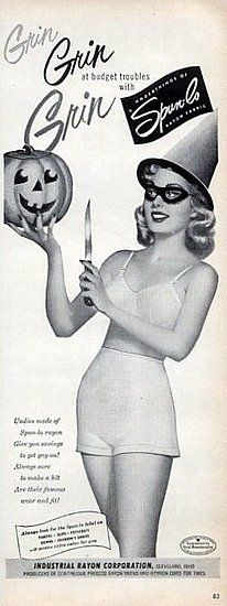 A vintage Halloween. Nothing like carving pumpkins in your undergarments!