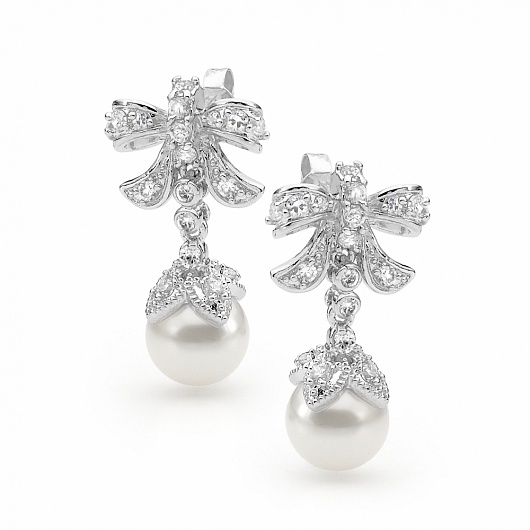Bow Crystal Drop Pearl Event Earrings
