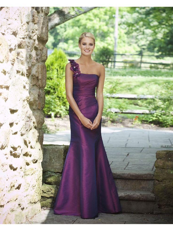 Charming one shoulder sleeveless taffeta bridesmaid dress