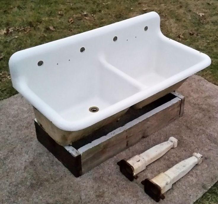 Deep Porcelain Sink : Antique Original Porcelain Cast Iron Farm Sink-DEEP-BOWLS-RARE-Made in ...