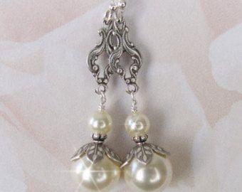 Pendientes de perlas Pendientes perla de dama estilo Vintage