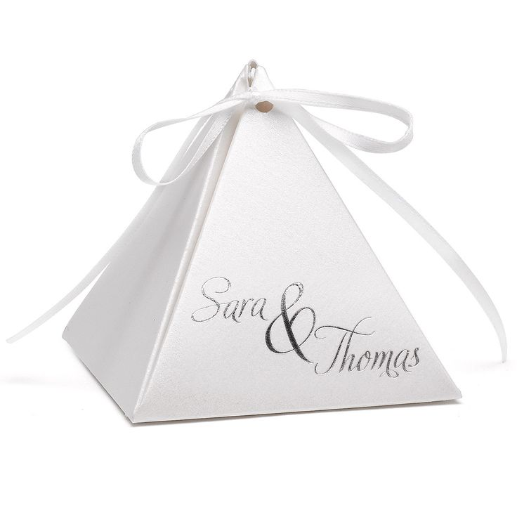 Personalized White Shimmer Pyramid Wedding Party Favor Box Pack Of 25