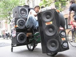This Dude seriously can not live without this stereo, so much so, he has attached the system to his only mode of transport.....His Bicycle!!