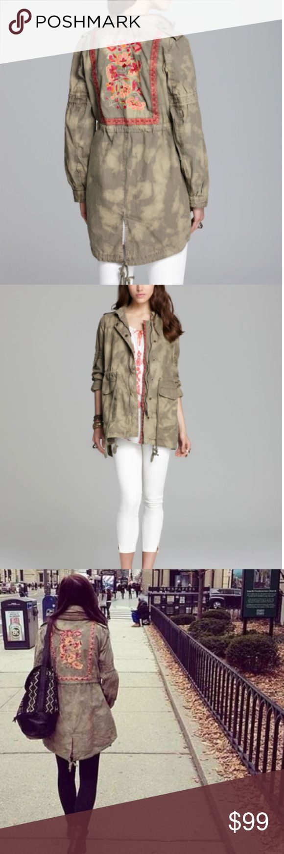 """Free People Festival Embroidered Tye Dye Anorak This festival surplus jacket cinched into a unique shape by plenty of utilitarian details is rare to find and amazing. Embroidery trims the placket and continues on the back, creating a framed floral accent. Approx. length from shoulder: front 31""""; back 34"""". Zip front with snap closure. Stow-away hood. Free People Jackets & Coats"""