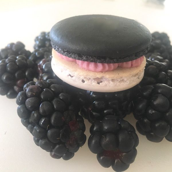 Blackberry French Macarons have two tone shells and are filled with blackberry cream cheese frosting and blackberry jam!