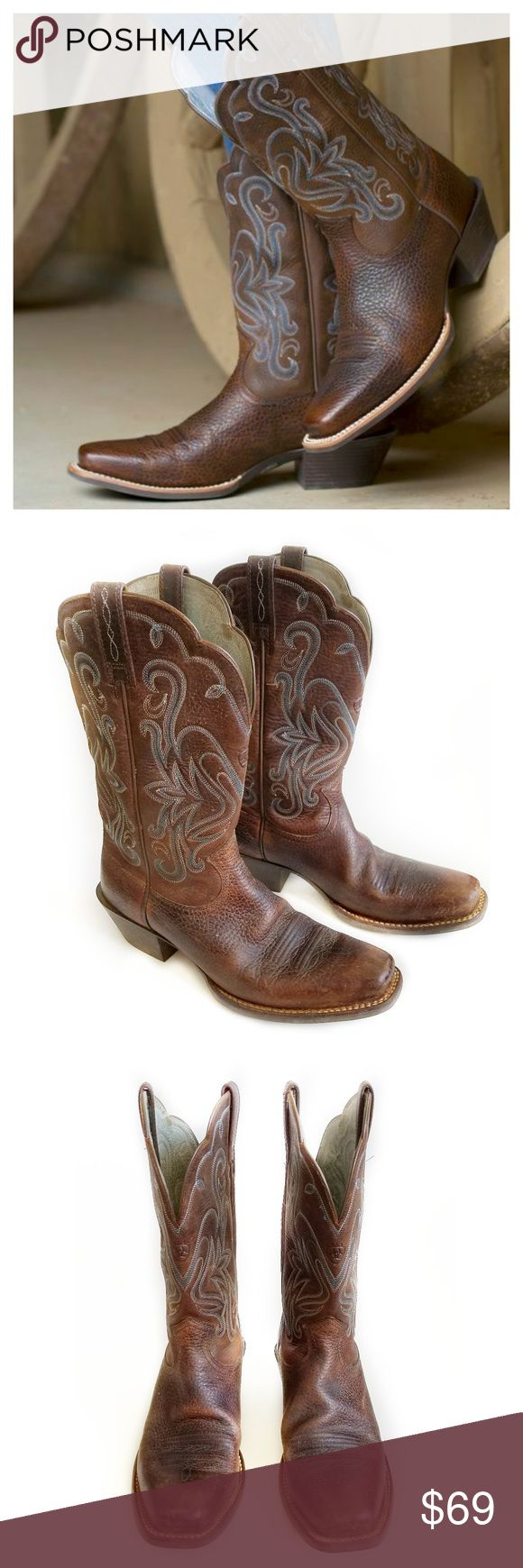 "Ariat Women's Rowdy Legend Western Boots Sz 8.5 Ariat Women's Rowdy Legend Boots Sz 8.5. A stylish western footwear option as seen in Bridal Guide magazine. Low profile riding boot with superior comfort ATS technology Ariat boots for all-day comfort & support. Full grain leather foot, 11"" shaft,Stabilizing composite fiber forked shank, Flexible, long-wearing Duratread outsole with Goodyear leather welt at home on a Motorcycle as well as a horse. A stylish riding boot for you! Very good…"