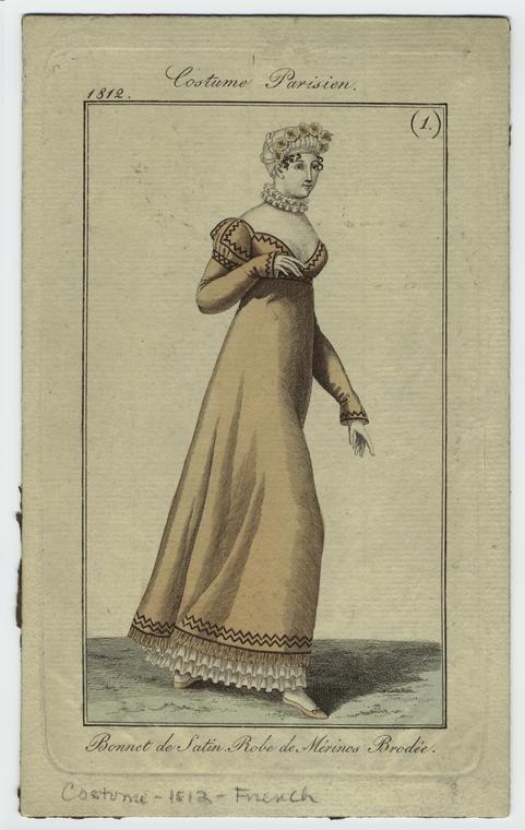 """Bonnet de satin, Robe de Mérinos Brodée"", 1812; NYPL 801712"