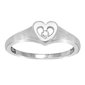 0.05 Carat VVS1 Heart Promise Ring In 14K White Gold # With Free Stud Earring by JewelryHub on Opensky