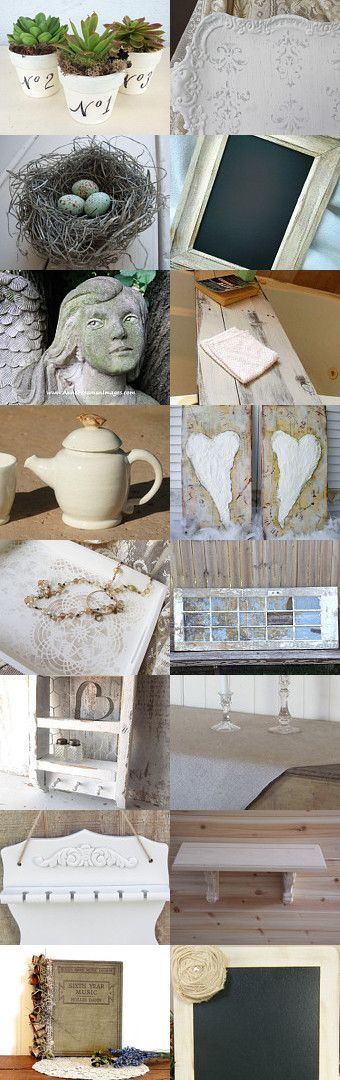 Shabby Rustic Whites by Rhonda Hallstrom on Etsy--Pinned with TreasuryPin.com