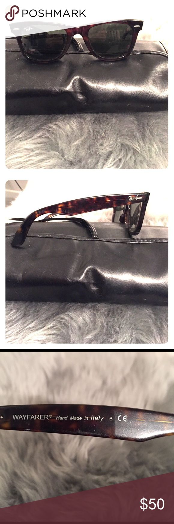 Ray ban wayfarer men's sunglasses Slightly used men's wayfarer ray bans turtle shell. Some scratching on lenses from use. Ray-Ban Accessories Sunglasses