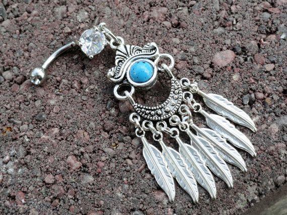 Gypsy Feather Belly Button Jewelry Southwestern by MidnightsMojo, $26.00