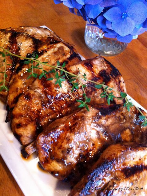 Balsamic Marinated Grilled Chicken ~ 4 chicken breasts, sliced in half to make them thin.  marinade:  1/4 cup balsamic vinegar  2 tablespoons dijon mustard  1 teaspoon dried fine herbs  1 teaspoon salt  1 teaspoon pepper  1/2 cup olive oil