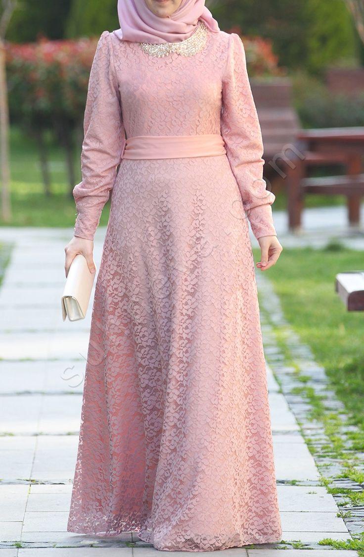 Sadem Dantel Elbise - Pudra