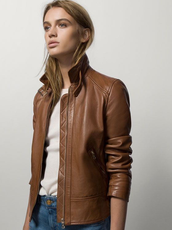 LEATHER JACKET WITH WORN SEAMS