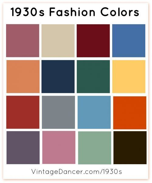 1930s fashion colors, women's clothing colors for spring, summer, winter and autumn.  Learn more at VintageDancer.com/1930s