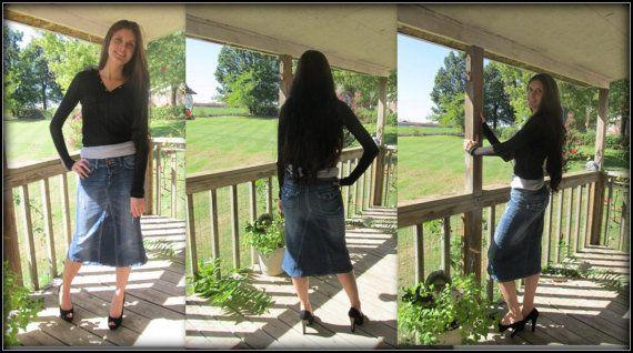 Short Jean Skirt modest below the knee denim by CustomJeanSkirts