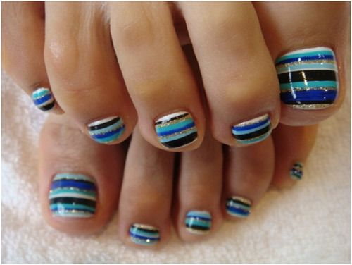 Stripes toe nail art. Me and Hailey have the nail art pens they work great. Use them all the time.