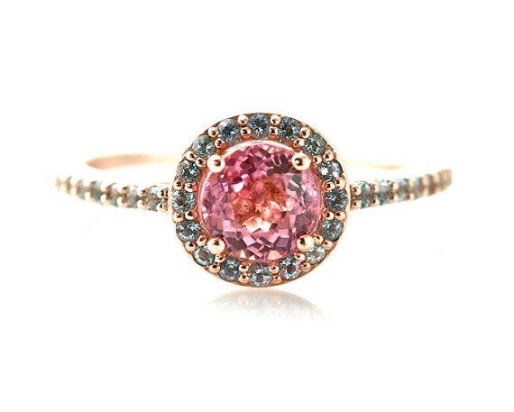 14K Pink Tourmaline Ring With Aquamarine Halo | 12 Alternative Engagement Rings Under $1000 on The Etsy Blog.