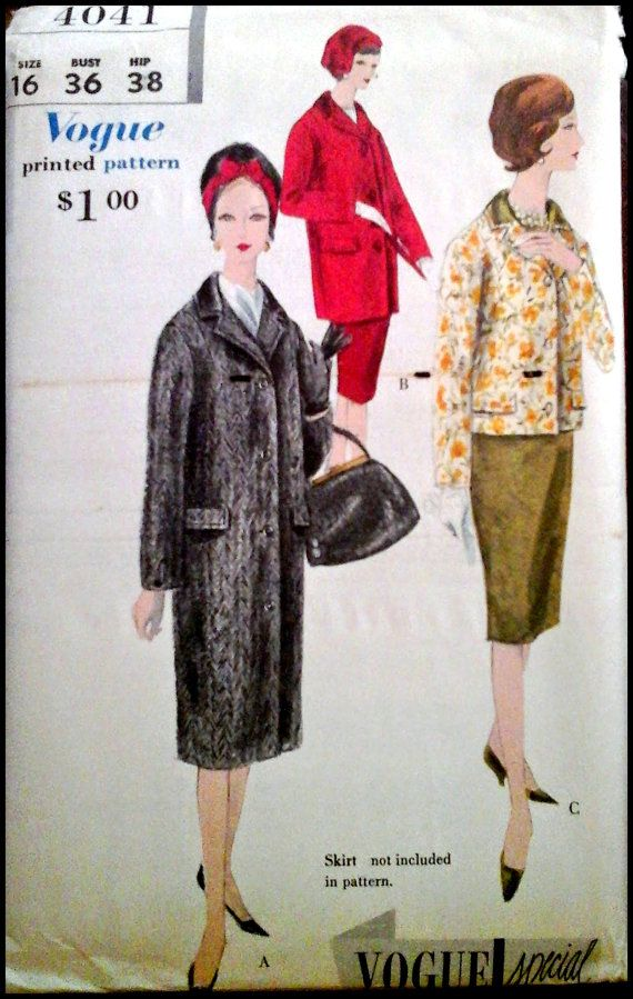 Vogue 4041  Misses' Coat  Size 14 or  16 Bust by ThePatternShopp