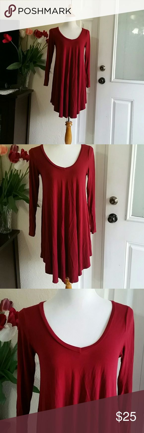 REBORN J Maroon color with full sleeves  tunic . About 32 inch long . 95 % ryon and 5 % spandex . Very soft and comfortable material. Reborn J Dresses Mini