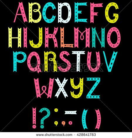 Colorful hand drawn unique alphabet. Letters A to Z plus punctuation marks. decorative font for postcard, placard, advertising, poster, book cover, title, apparel design.