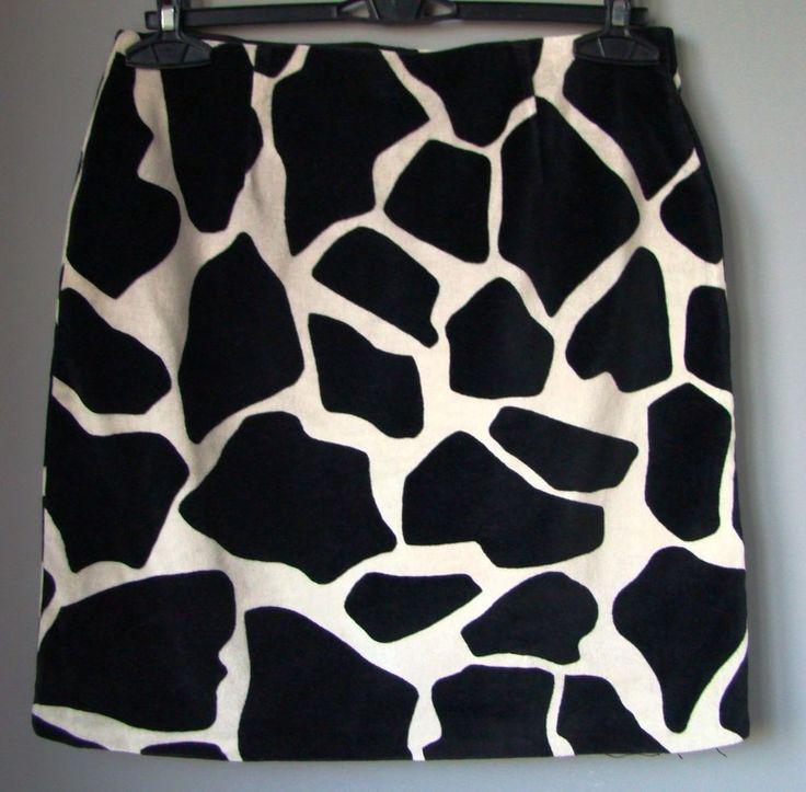 Gonna FANTASIA ANIMALIER GIRAFFA nera bianca tubo velluto jupe rock skirt falda