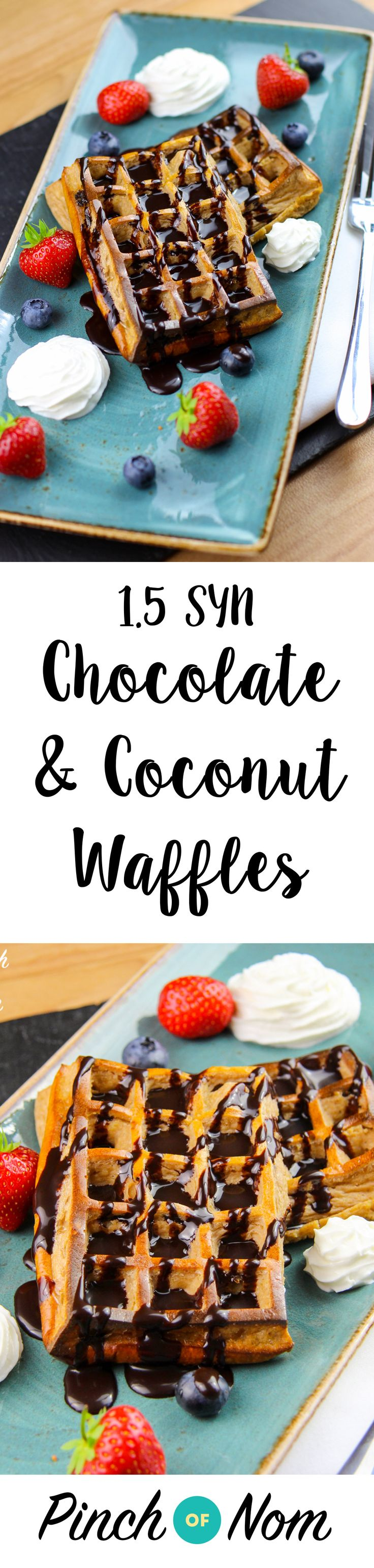 You're Going To Want To Make Love To These  1.5 Syn Chocolate & Coconut Waffles | pinchofnom.com