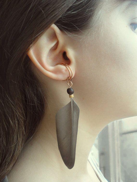 Cartilage oreillette + eco cuff clip (SINGLE / paire)-aucune plume bois perçage droite manchette d'oreille earcuff-bois avec chaîne-non boucles d'oreilles