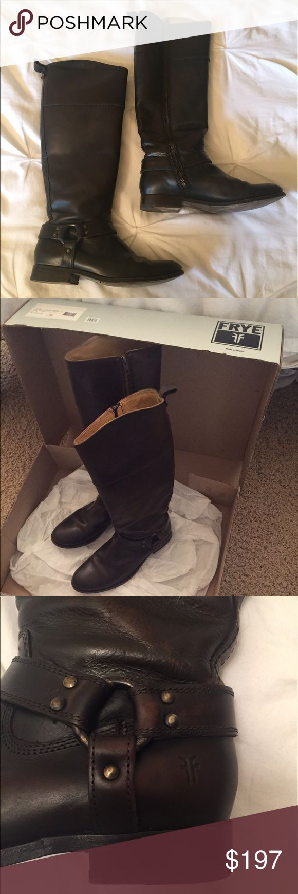 """Frye Melissa Harness Boots Like new frye boots! Vintage dark brown leather. Very versatile - in the words of Monica Gellar 'they're very practical. You can wear them with dresses, with skirts, with pants..."""" Frye Shoes Heeled Boots"""