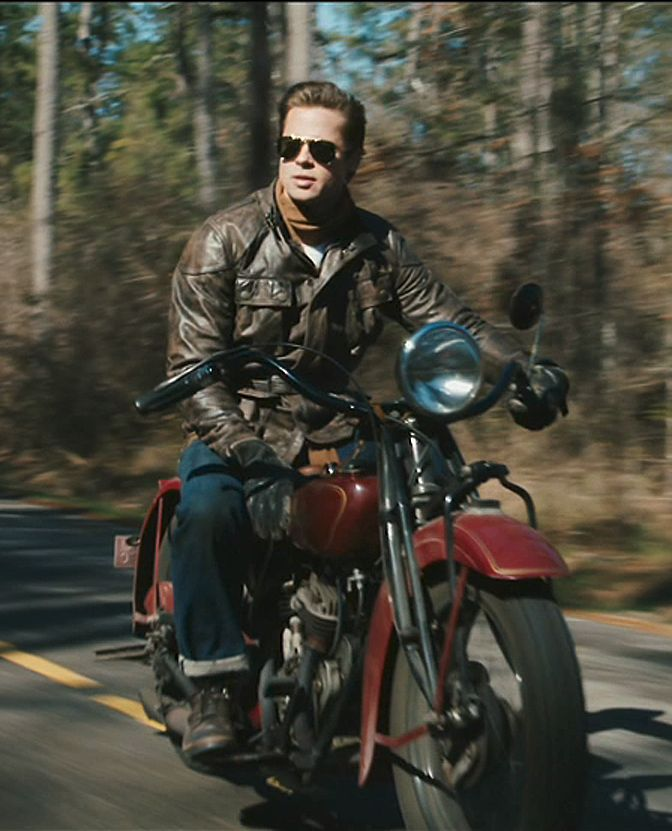 "Brad Pitt on a classic Indian bike in the movie ""The Curious Case of Benjamin Button."""