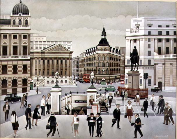 "Bank junction in the early 20th century (Alfred Daniels painting titled ""Bank Station"")"