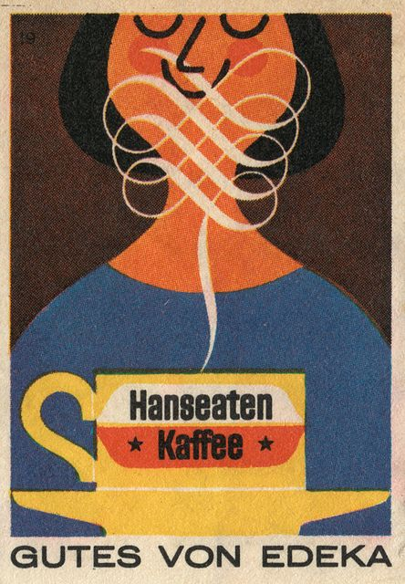LOVE coffee!!! AMO café!!! From Maraid's set of matchbox labels (via Martin Klasch: Hanseaten Kaffee)